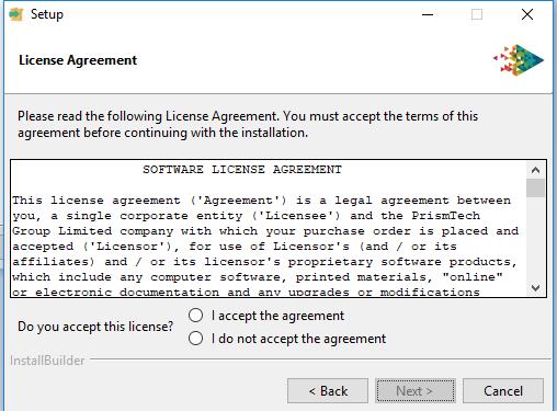 Vortex platforms installer accept license agreement screen