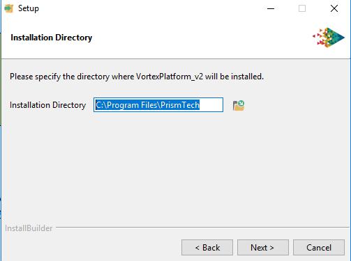 Vortex platforms installer choose directory window