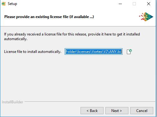 Vortex platforms choose license directory window on installer