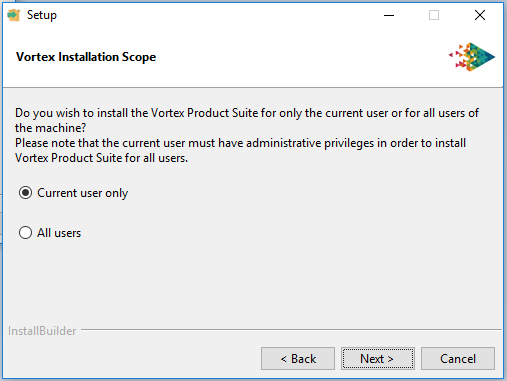 Vortex platforms installing a license file screen