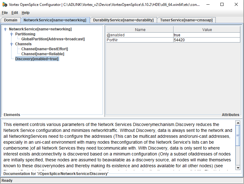 Screen shot of the opensplice configuration tool showing how to set networking ports