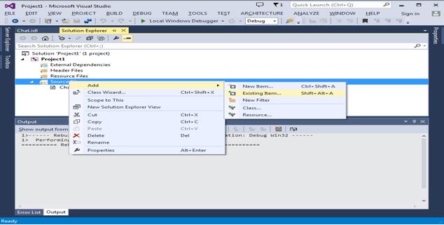 Add output files to microsoft visual studio C++ project