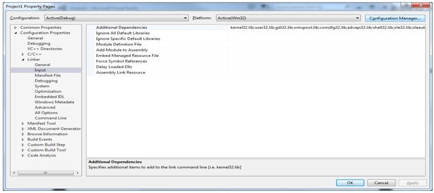 setting linker options for vortex opensplice in microsoft C++