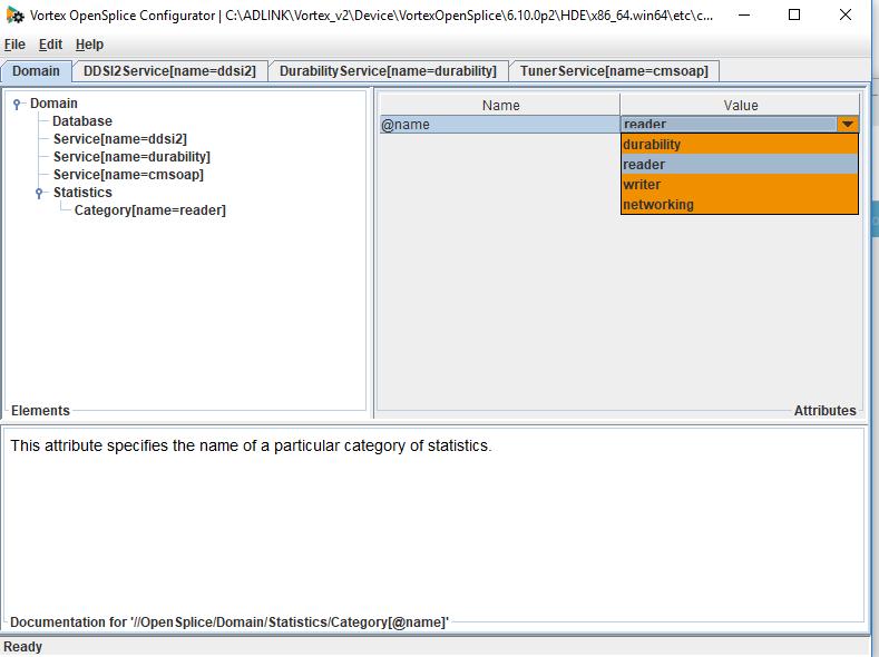 OpenSplice configuration tool showing statistics dropdown menu