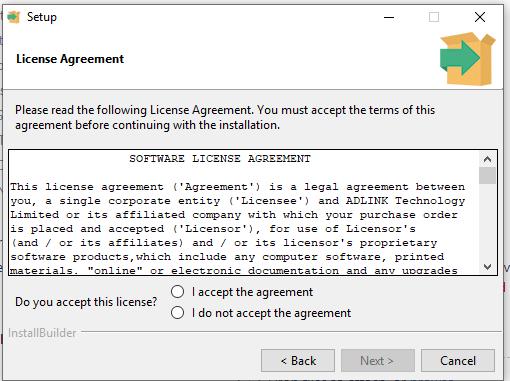 Edge sdk installation wizard accept license terms