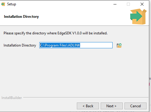 Vortex Edge SDK installer navigate to license file page