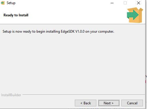Vortex Edge SDK ready to install page