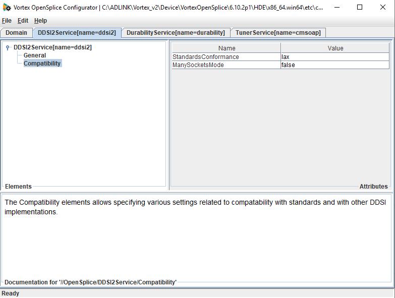 screenshot of OpenSplice configuration tool showing setting ManySocketsMode
