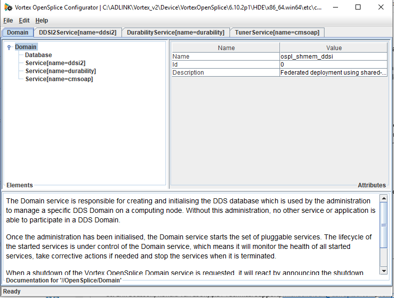 screenshot showing the domain section of the opensplice configuration tool