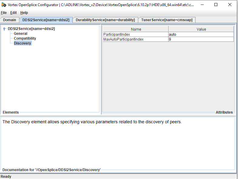 screen shot showing how to set MaxAutoPariticpantIndex in the opensplcie configuration tool