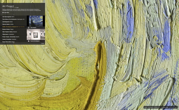 "Google Art Project Close Up of Van Gogh's ""The Starry Night"""