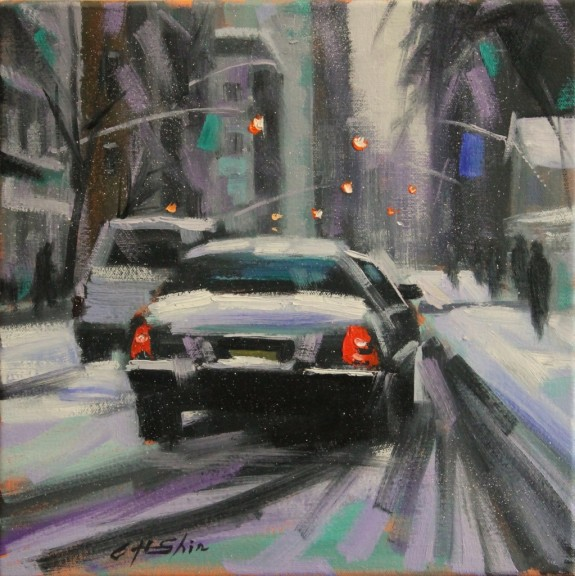 """""""Snow Day Driving"""" is a 12 x 12 inch oil on canvas painting by Chin H. Shin"""