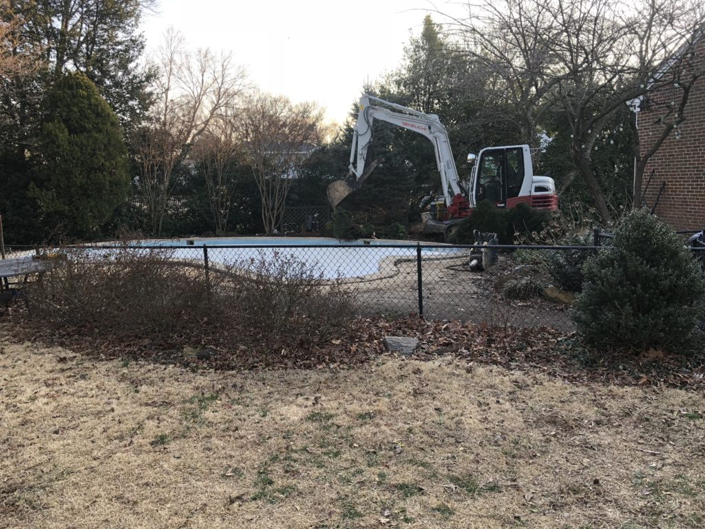 Before Concrete Pool Removal in Severna Park Maryland