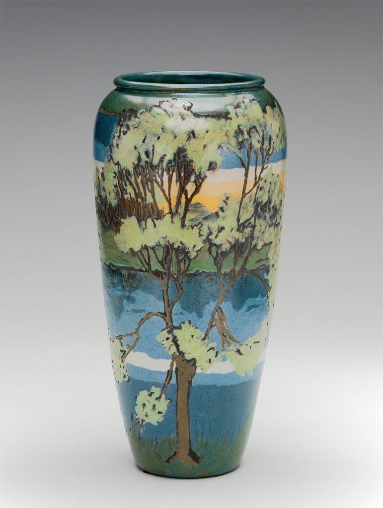 Paul Revere Pottery Vase with Landscape Scene