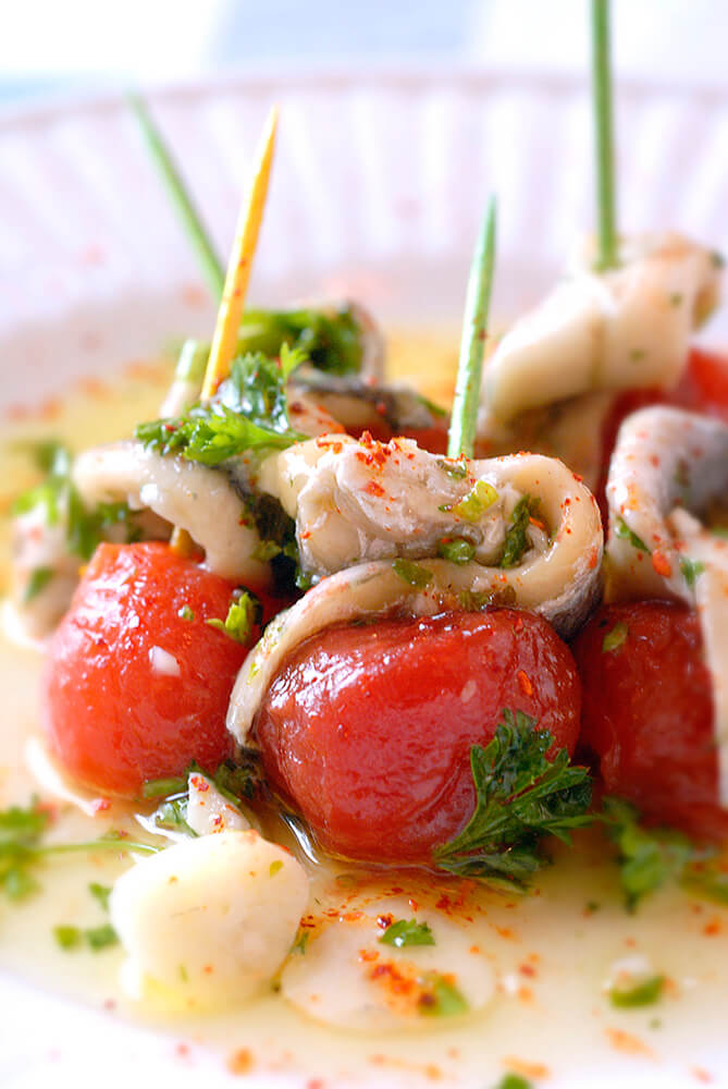Cherry Tomatos and Herring Appetizer