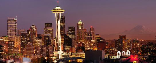 Seattle skyline and Mount Rainier panorama