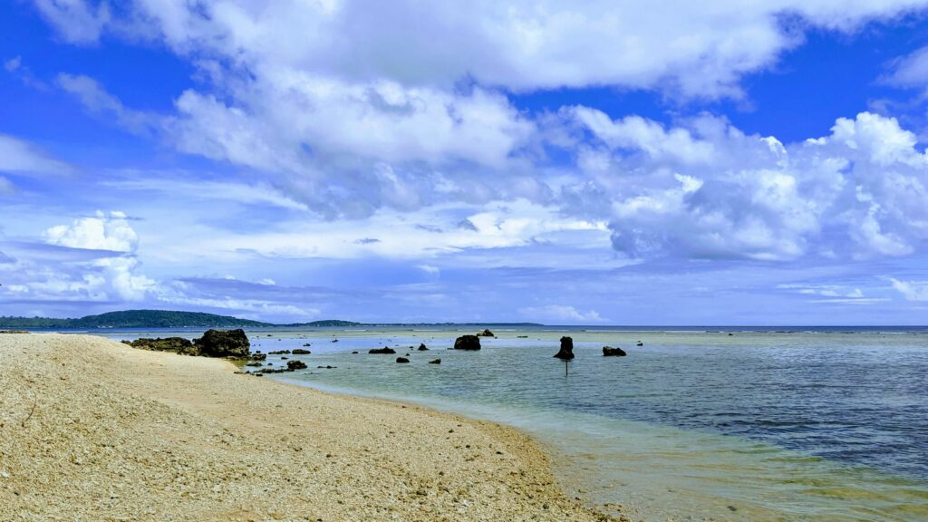 The beach from where you snorkel to the underwater post office in Vanuatu