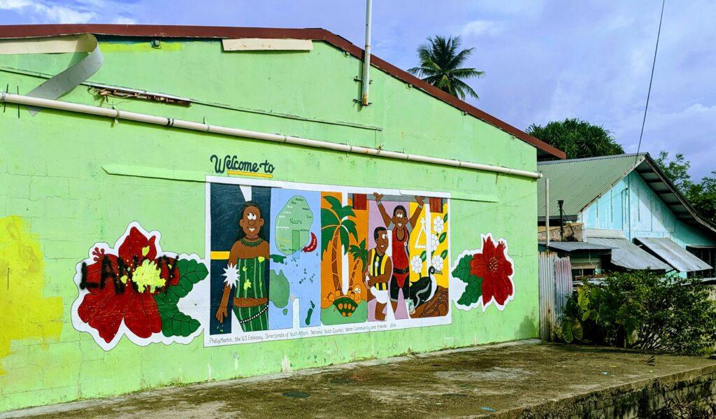 Welcome graffiti for getting to Nauru