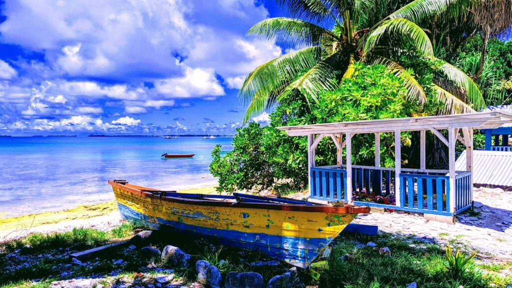 Typical homes and beaches in Tuvalu make it a place worth a visit