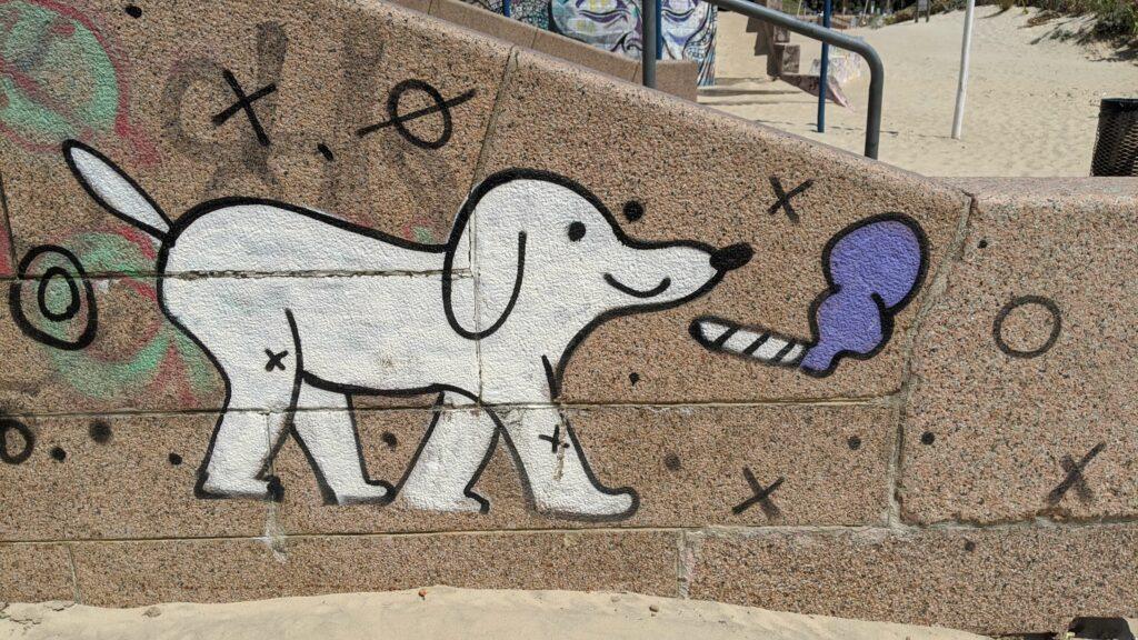 Smoking Dog Street Art in Montevideo