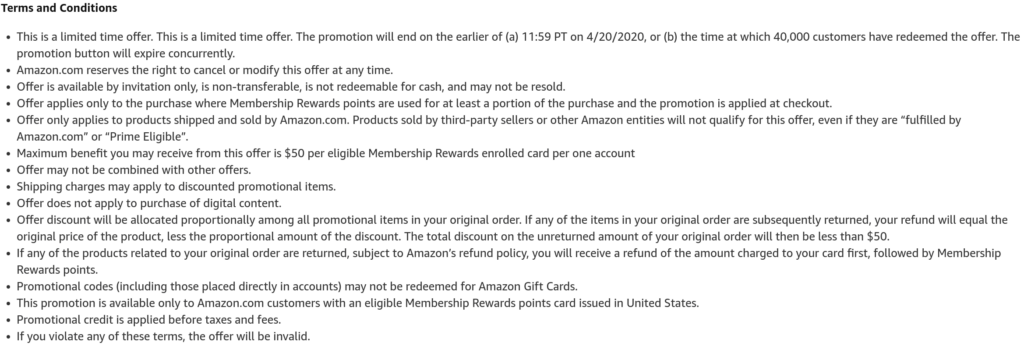 20% Off Amazon Terms and Conditions