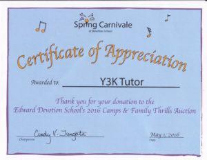 Y3K Tutor In Your Home Certificate