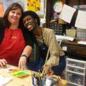 Artist and Volunteer in class