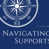 blue background, white compass, words navigating supports