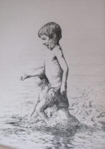 """Boys running on the beach"", pencil"