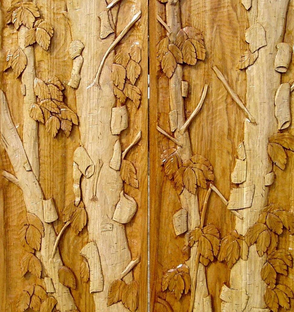 Completed carved Butternut panels for Carved Entry door