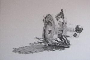 Granpa's saw, pencil drawing, John Huisman