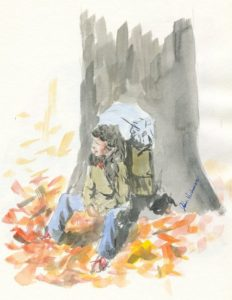 """""""Resting By a tree"""" Watercolor"""