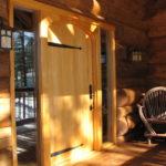 Alaskan Yellow Ceda plank door in log home
