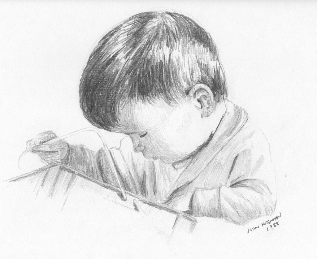 Child, pencil sketch, John Huisman