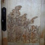 wildflower door carving on curly Maple panel