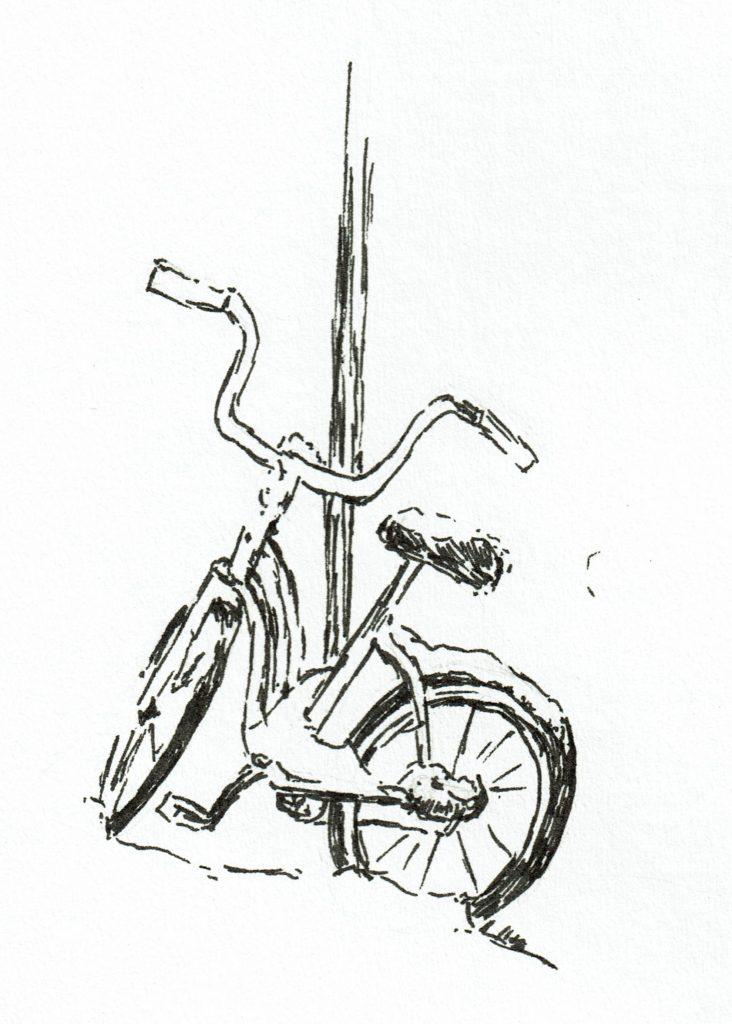 Bike in snow pen & ink quick sketch by John Huisman