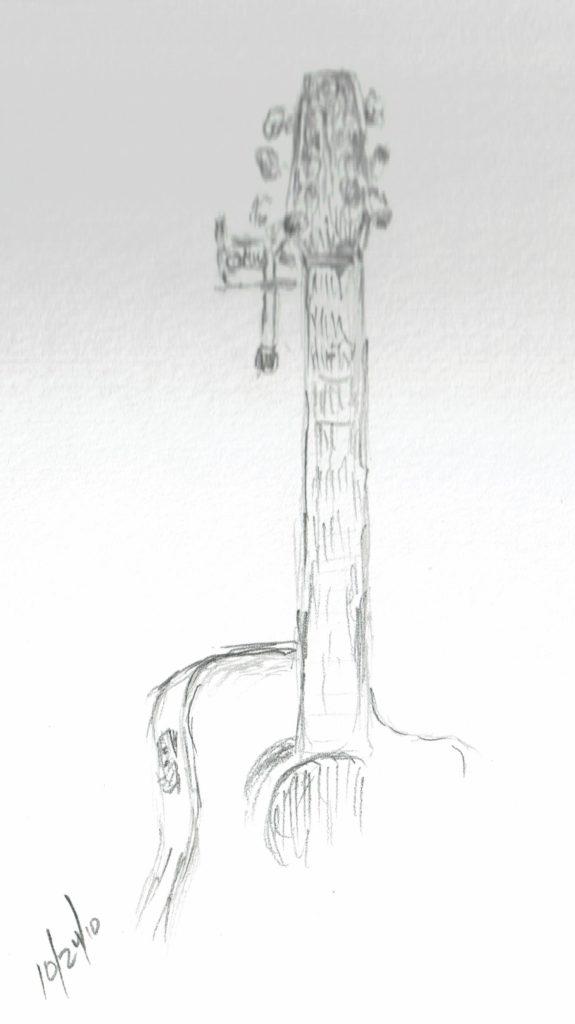 guitar sketch, John Huisman