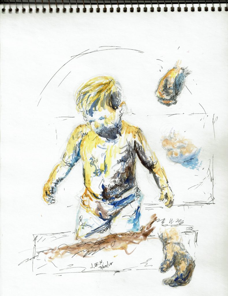 From the sketch books a child at the beach by John Huisman, watercolor, pencil, pen and ink etc
