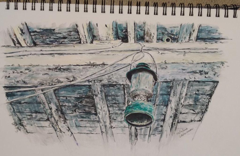 Dewey's barn, the lantern, watercolo and ink sketch by Minnesota Artist John Huisman
