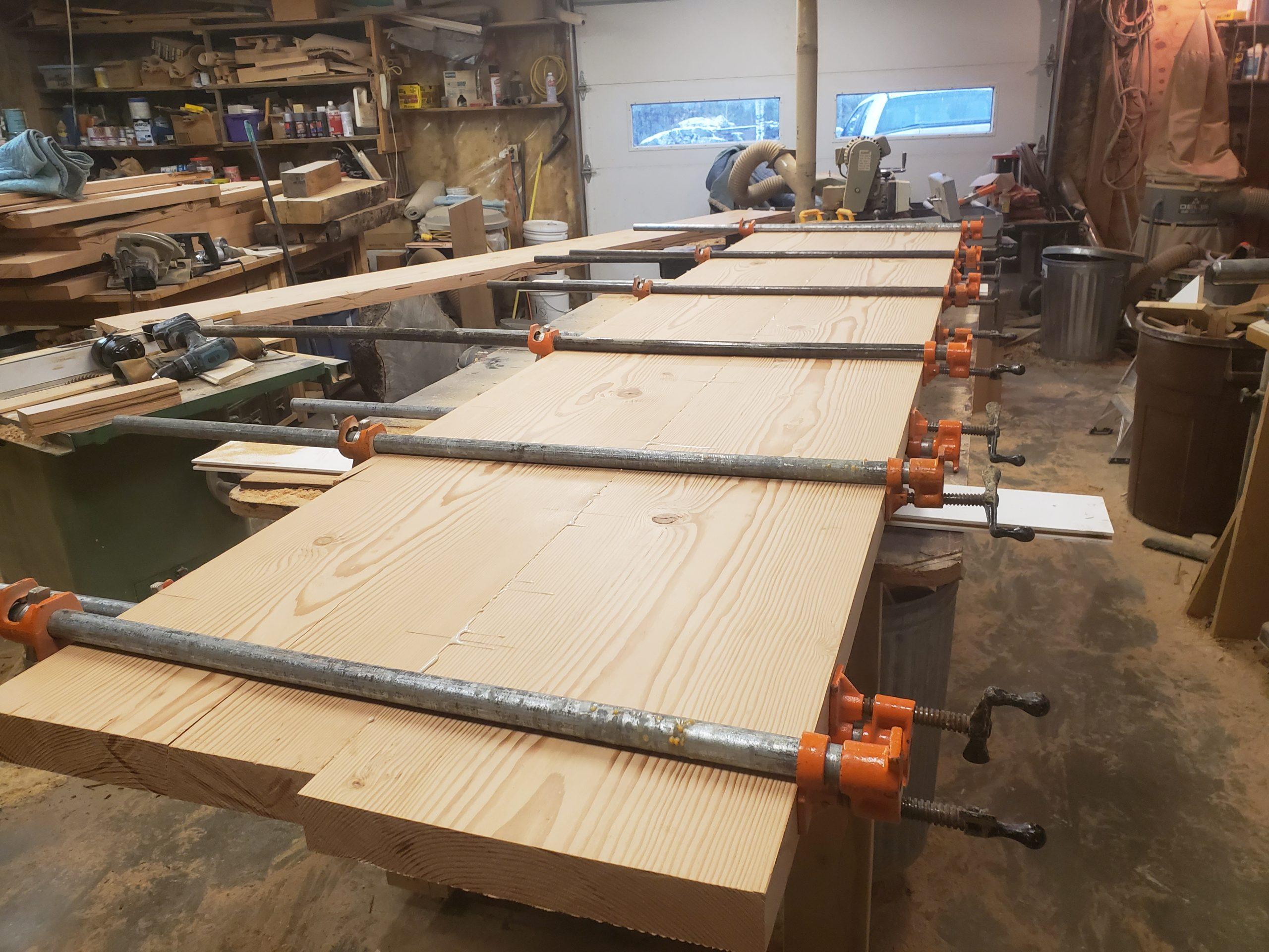 Gluing slabs of Douglas Fir for custom table by John Huisman