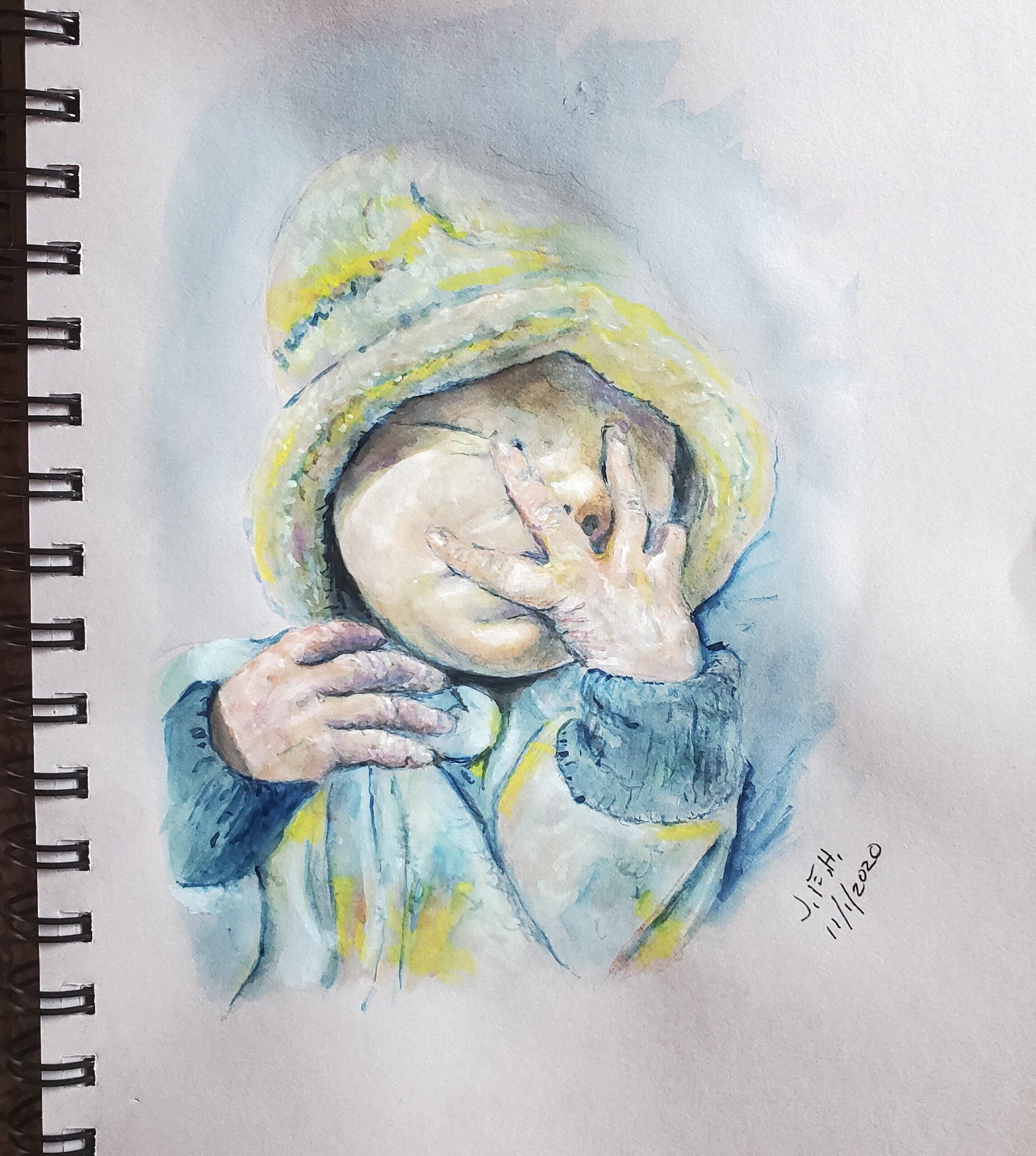 Gouache sketch, new born grandchild