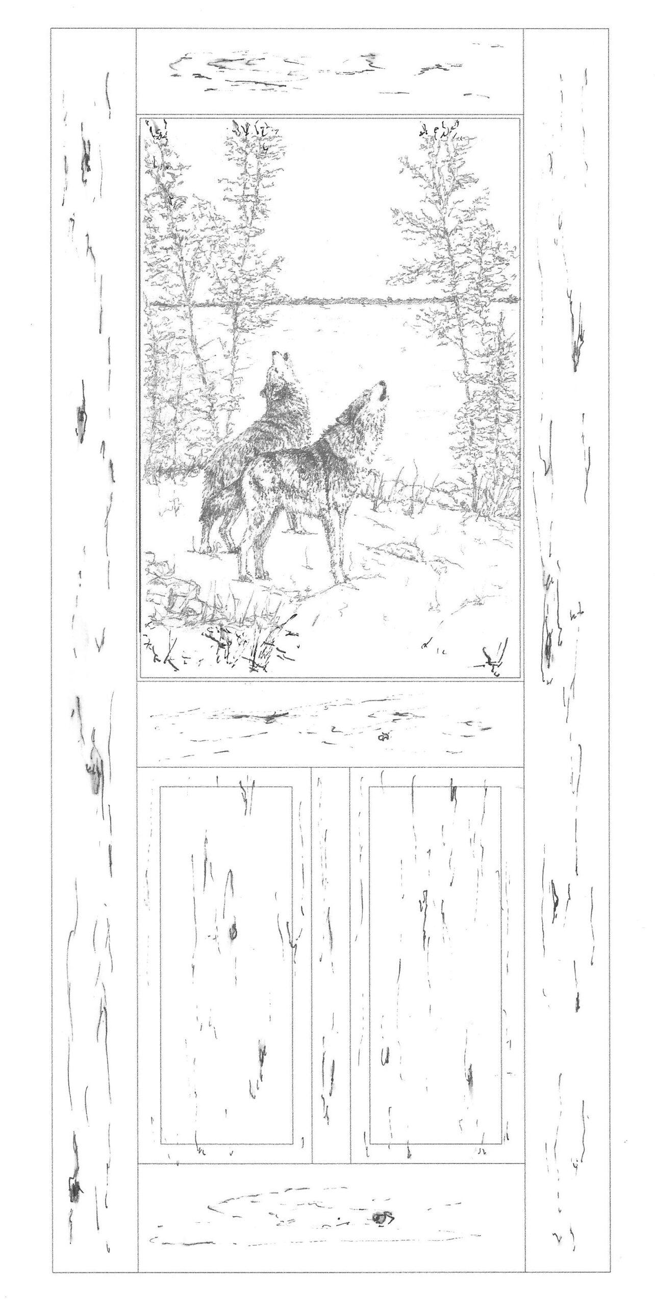 Carved door, timber wolves sketch