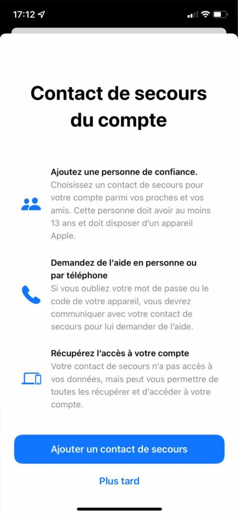 iphone recuperation compte