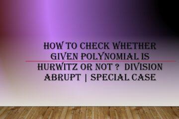 Hurwitz Polynomial Special Case