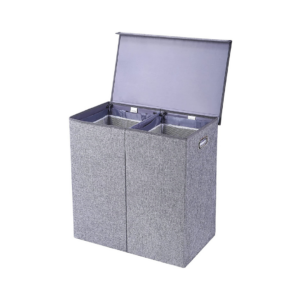 Double Laundry Hamper with Removable Liner Bags and Magnetic Lid