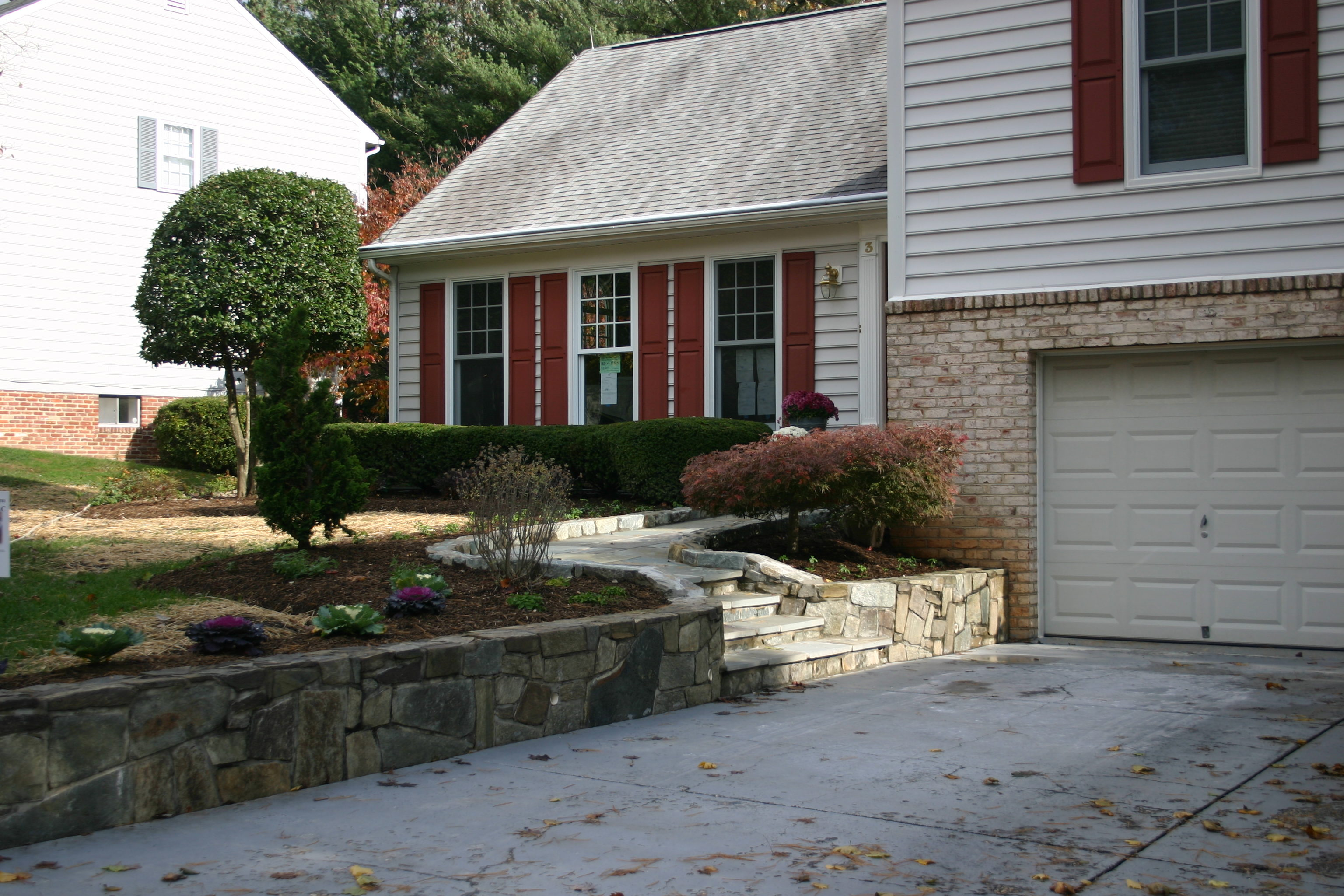 Retaining wall and stone stairway Rockville, MD, USA