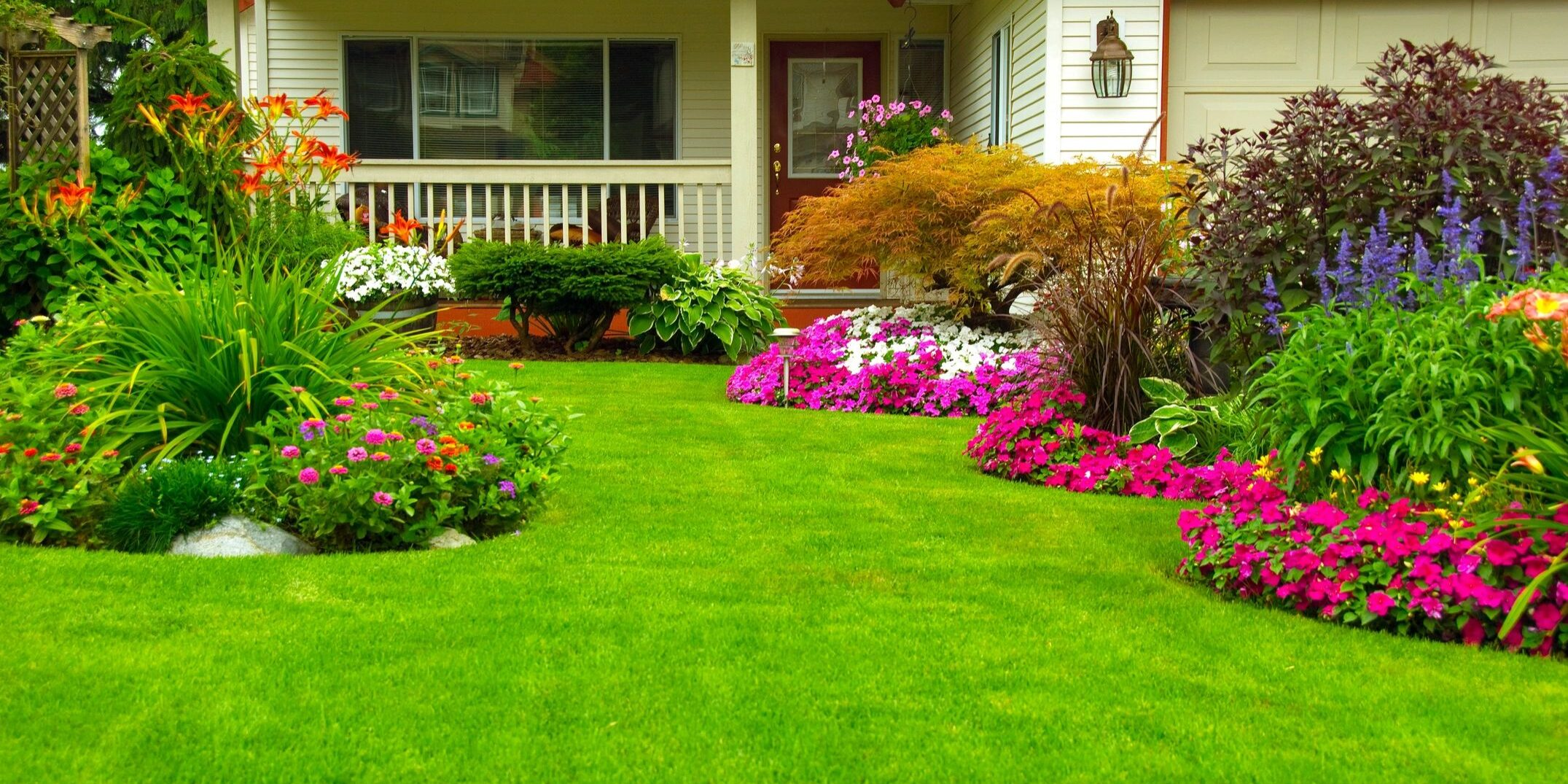 Services for your home and business garden - landscaping and maintenance of a front-yard