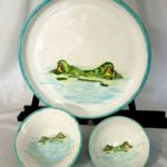 18F Beth McCullen Aligator Platter & Two Bowls