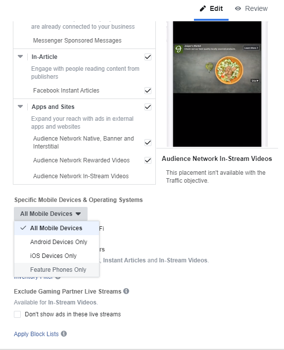facebook ads manager mobile device and operating system targeting