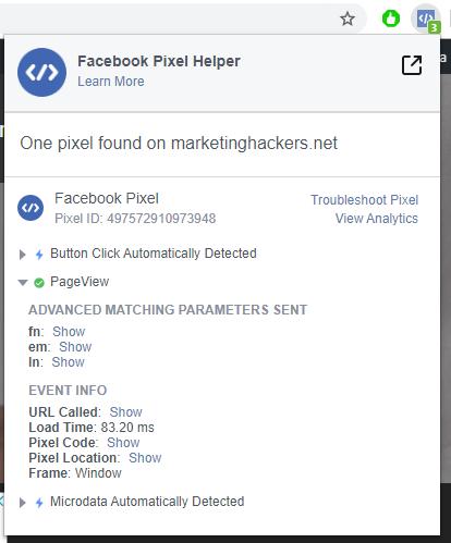 facebook pixel helper extension for chrome firing correctly